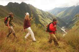 Hiking above the Urubamba River, on EcoAdventures' Mountain Lodges Peru trek.