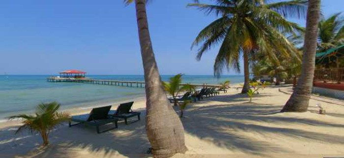 Inn at Robert's Grove pier and white sand beach, Placencia, Belize